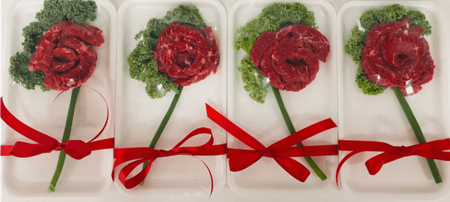 Stop & Shop has Valentine's Day items included sirloin roses.