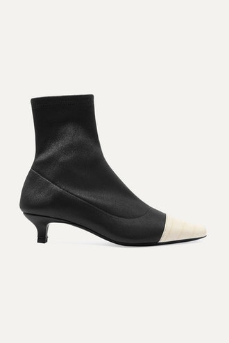 Karl Two-Tone Stretch And Croc-Effect Leather Sock Boots