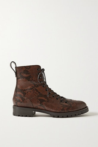 Cruz Snake-Effect Leather Ankle Boots