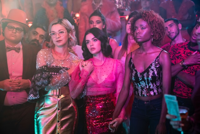 CW's Katy Keene's Pepper, Katy, and Josie at Ginger's drag show.