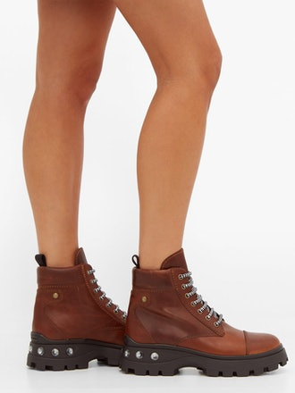 Crystal-Heel Lace-Up Leather Boots