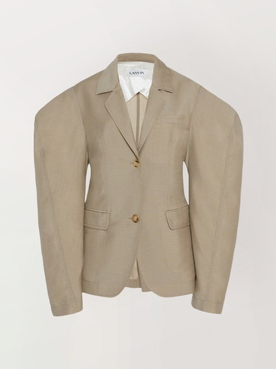 Notched Mohair-Wool Blend Blazer
