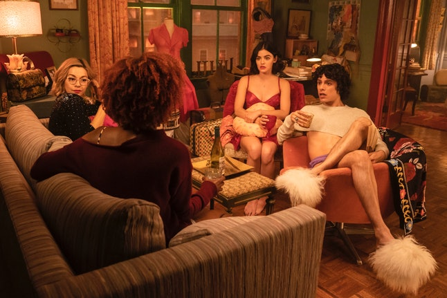Julia Chan as Pepper Smith, Ashleigh Murray as Josie McCoy, Lucy Hale as Katy Keene and Jonny Beauchamp as Jorge Lopez in 'Katy Keene'