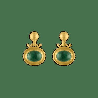 Green Tourmaline Large Bell Earrings