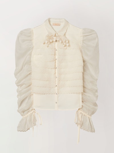 Layered Organza Gathered-Sleeve Shirt
