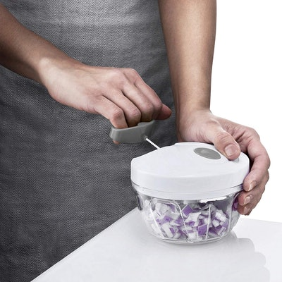 Gourmia Mini Slicer Pull String Manual Food Processor With Bowl