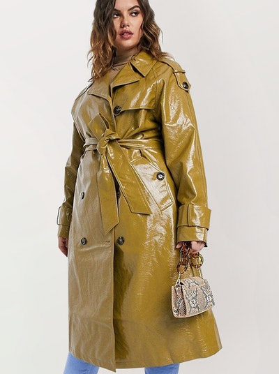 Curve Vinyl Trench Coat In Khaki