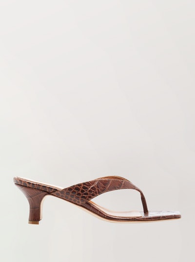 Croc-Effect Leather Sandals