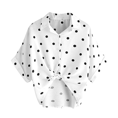 MakeMeChic Button Down Front Knot Blouse
