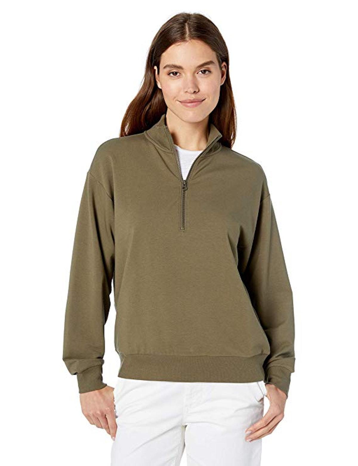 Daily Ritual Terry Cotton Quarter-Zip Sweatshirt