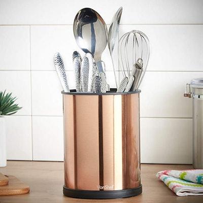 VonShef Copper Rotating Kitchen Utensil Organizer
