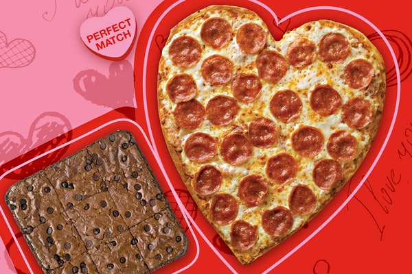 Customers can score Papa John's heart-shaped pizza and brownie for under $30.