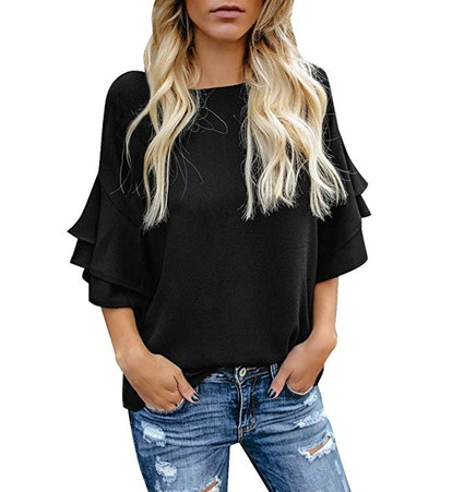 luvamia 3/4 Tiered Bell Sleeve Blouse
