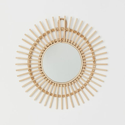 Mirror with Rattan Frame