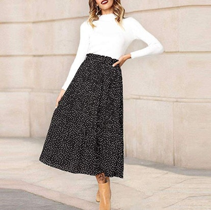 Exlura Womens High Waist Polka Dot Pleated Skirt