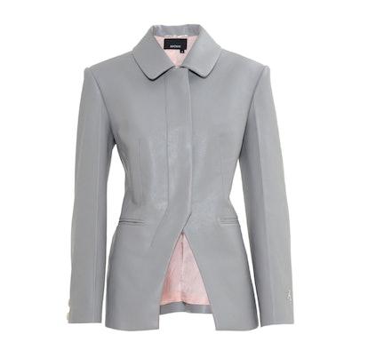 Grey Vegan Leather Slim Waist Single Breasted Blazer