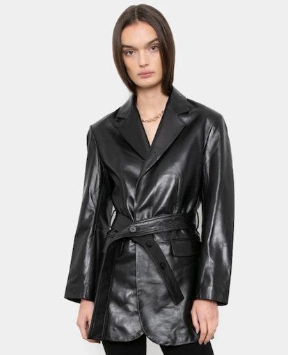 Black Leather Belted Blazer Jacket