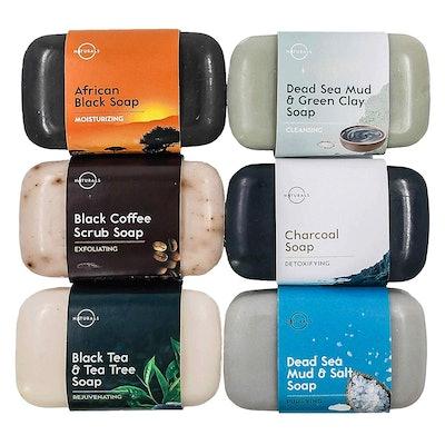 O Naturals Black Bar Soap Collection (6-Piece Set)
