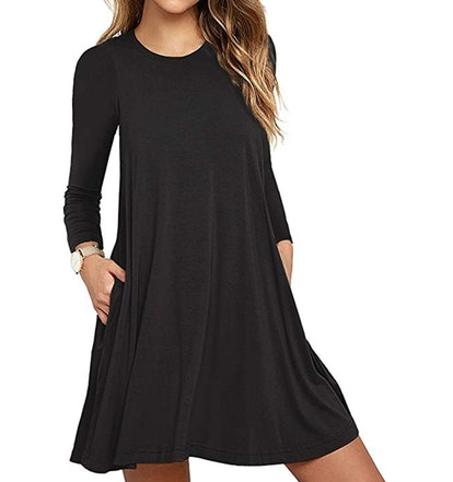 UnbUnbranded* Women's Long Sleeve Pocket T-Shirt Dress