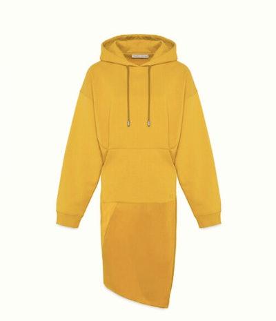 DUAL-FABRIC HOODIE DRESS