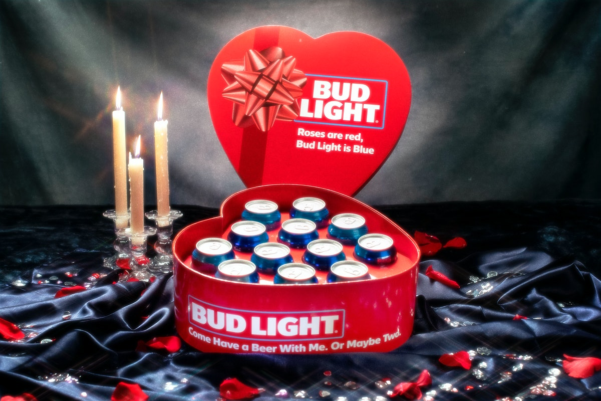 Bud Light's heart-shaped 12-pack of beer for Valentine's Day 2020 is a fun gift.