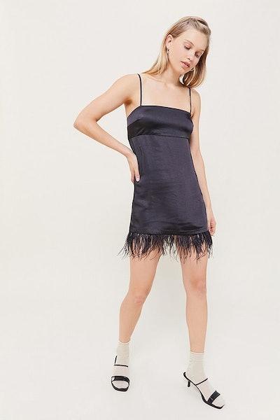 UO Rosebud Faux Feather Trim Mini Dress