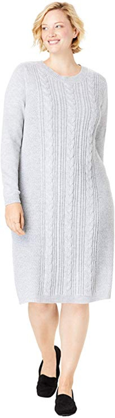 Woman Within Women's Plus Size Cable Knit Sweater Dress