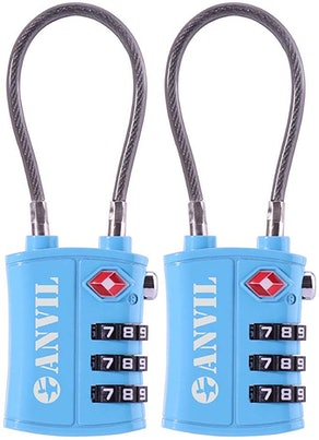 Anvil TSA-Approved 3-Digit Luggage Cable Lock (2-Pack)