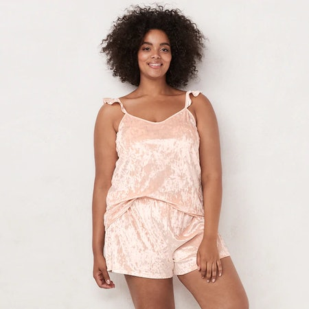 Lauren Conrad Ruffled Velvet Pajama Set