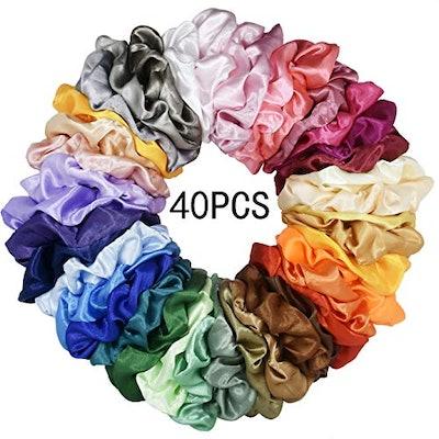 Mcupper 40 Pcs Hair Silk Scrunchies