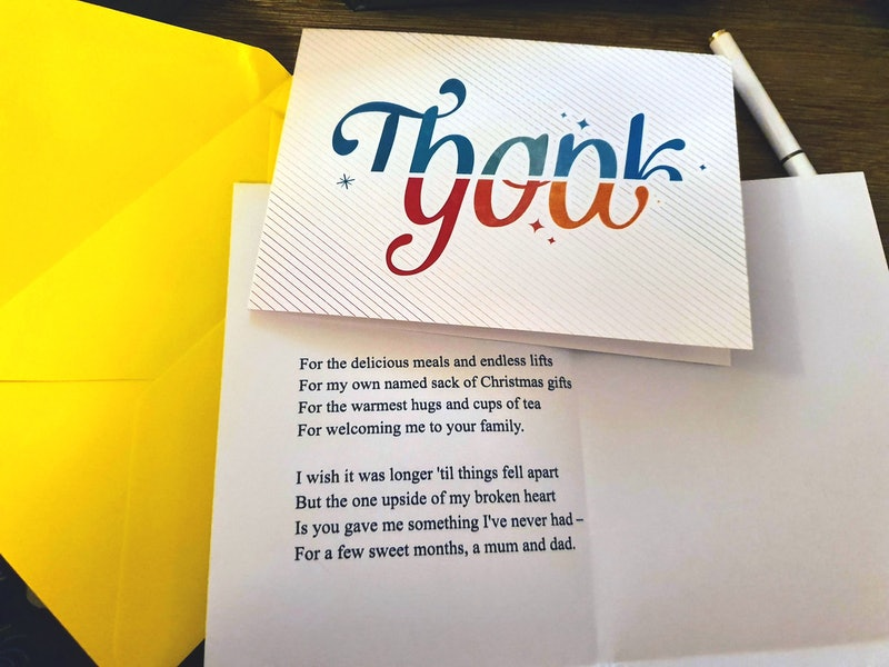 The thank you card and poem author Holly Brockwell sent to her ex's parents.