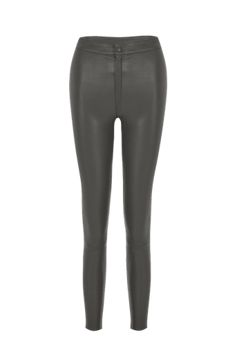 High Waisted Stretch Leather Pants Grey