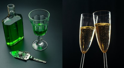 Left image: an absinthe bottle, a glass of absinthe and a stainless steel slotted spoon with the sugar cube on the table; Right image: Champagne glasses for festive occasion against a dark background
