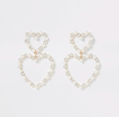 Gold colour pearl and diamante heart earrings