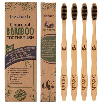 Isshah Biodegradable Natural Bamboo Charcoal Toothbrush (4-Pack)