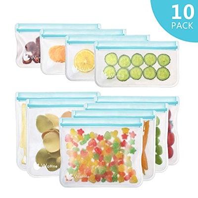 Wattne [10 Pack] Reusable Sandwich & Snacks Bags