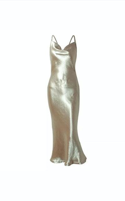 Jemma Satin Cowl Neck Dress In Gold