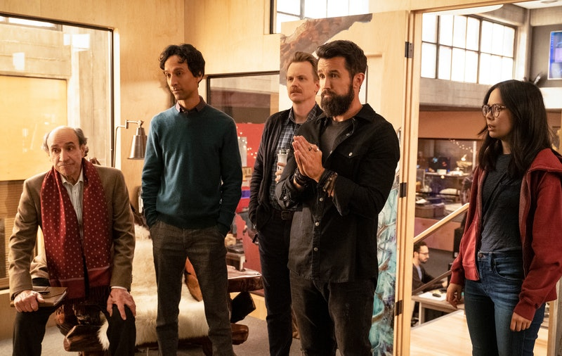 F. Murray Abraham as C.W. Longbottom, Danny Pudi as Brad Bakshi, David Hornsby as David Brittlesbee, Rob McElhenney as Ian Grimm, and Charlotte Nicdao as Poppy Li in Mythic Quest: Raven's Banquet