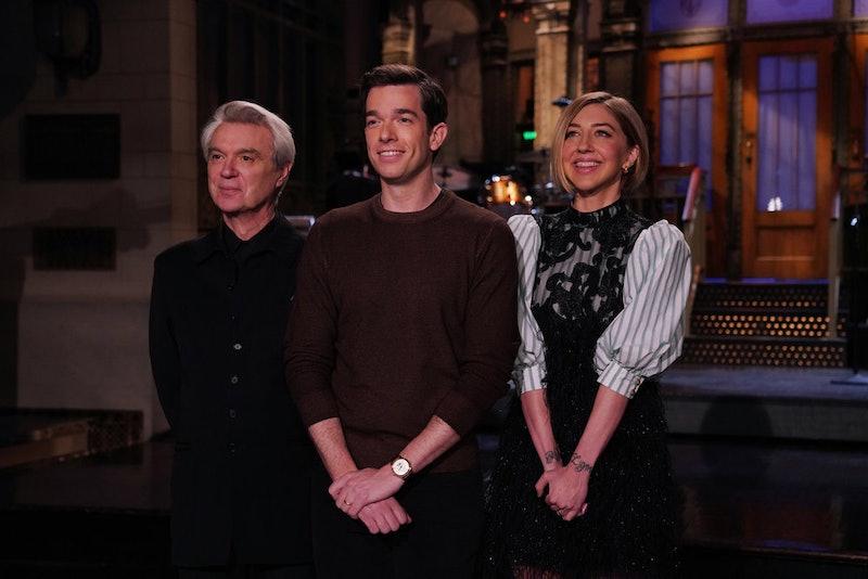 Musical guest David Byrne, host John Mulaney, and Heidi Gardner on Saturday Night Live