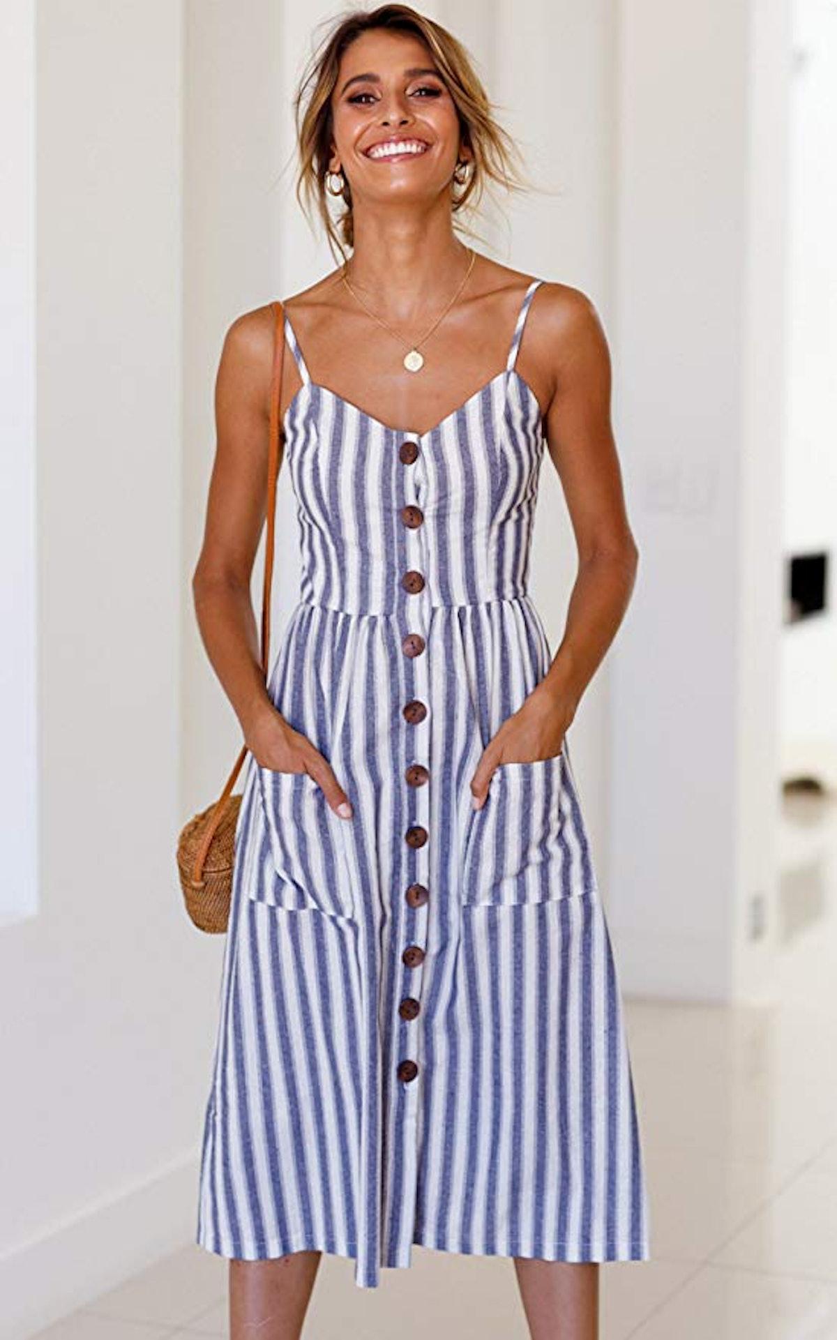 Angashion Women's Midi Dress with Pockets