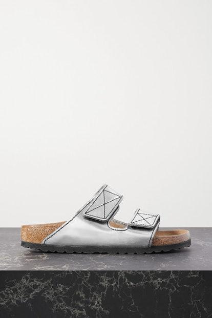 Arizona topstitched metallic leather sandals