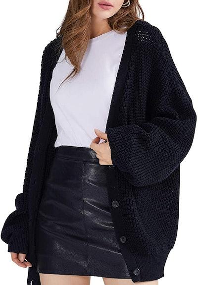 QUALFORT Women's 100% Cotton Cardigan Sweater