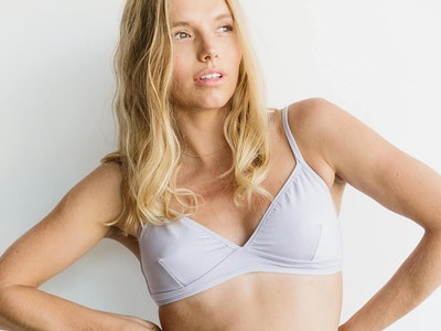 woman wearing a storq nursing bra