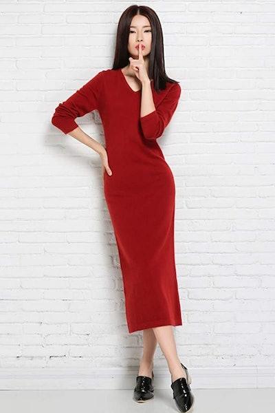RanRui V-Neck Cashmere Midi Dress