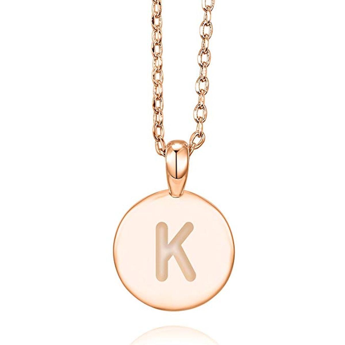 PAVOI 14K Rose Gold Letter Necklace