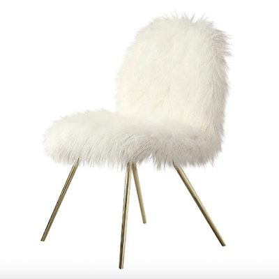 White Faux Fur Accent Chair