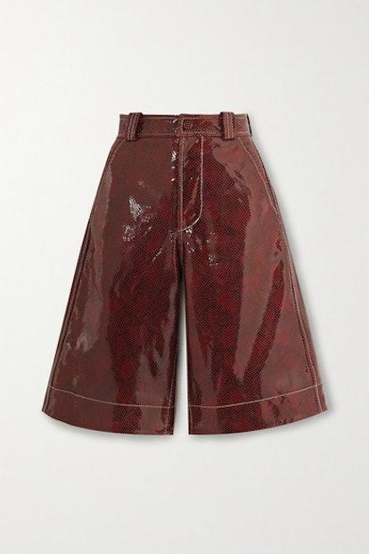 Snake-Effect Leather Shorts