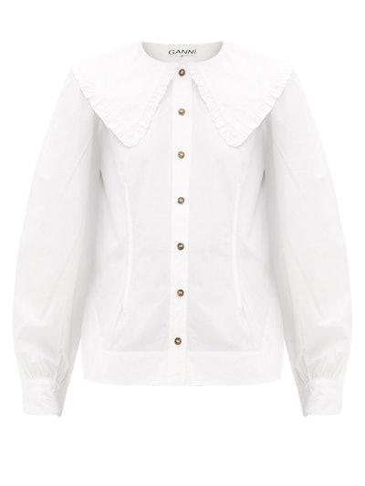Ruffled-Collar Cotton-Poplin Shirt