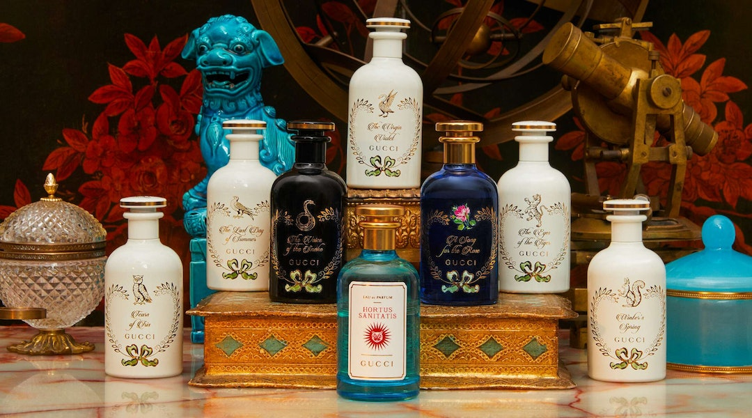 Gucci's Hortus Sanitatis fragrance with other perfumes from the house.