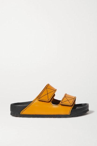Arizona topstitched glossed-leather sandals